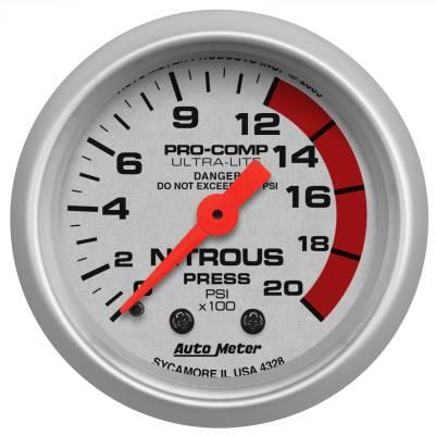 "Nitrous Oxide Injection System - Nitrous Oxide Pressure Gauge - AutoMeter - GAUGE, NITROUS PRESSURE, 2 1/16"", 2000PSI, MECHANICAL, ULTRA-LITE - 4328"