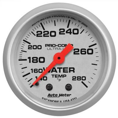 "Instrument Panel - Engine Coolant Temperature Gauge - AutoMeter - GAUGE, WATER TEMP, 2 1/16"", 140-280?F, MECHANICAL, ULTRA-LITE - 4331"