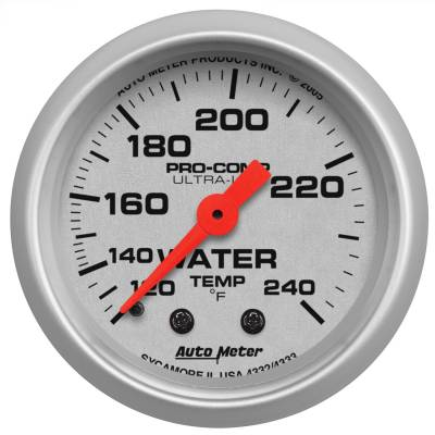 "Instrument Panel - Engine Coolant Temperature Gauge - AutoMeter - GAUGE, WATER TEMP, 2 1/16"", 120-240?F, MECHANICAL, ULTRA-LITE - 4332"