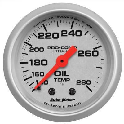 "Instrument Panel - Engine Oil Temperature Gauge - AutoMeter - GAUGE, OIL TEMP, 2 1/16"", 140-280?F, MECHANICAL, ULTRA-LITE - 4341"
