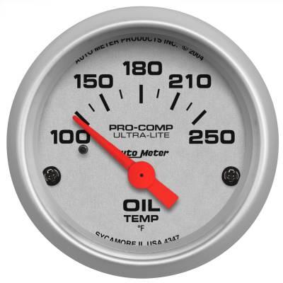 "Instrument Panel - Engine Oil Temperature Gauge - AutoMeter - GAUGE, OIL TEMP, 2 1/16"", 100-250?F, ELECTRIC, ULTRA-LITE - 4347"