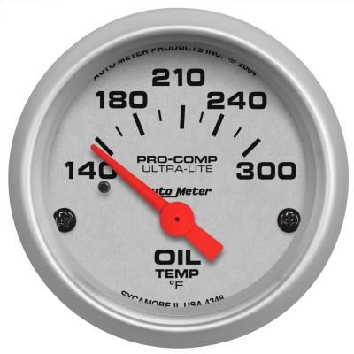 "Instrument Panel - Engine Oil Temperature Gauge - AutoMeter - GAUGE, OIL TEMP, 2 1/16"", 140-300?F, ELECTRIC, ULTRA-LITE - 4348"