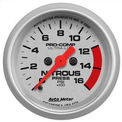 "Nitrous Oxide Injection System - Nitrous Oxide Pressure Gauge - AutoMeter - GAUGE, NITROUS PRESSURE, 2 1/16"", 1600PSI, DIGITAL STEPPER MOTOR, ULTRA-LITE - 4374"