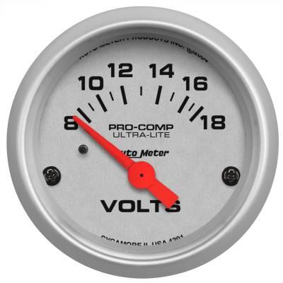 """Instrument Panel - Voltmeter Gauge - AutoMeter - GAUGE, VOLTMETER, 2 1/16"""", 18V, ELEC, ULTRA-LITE - 4391"""