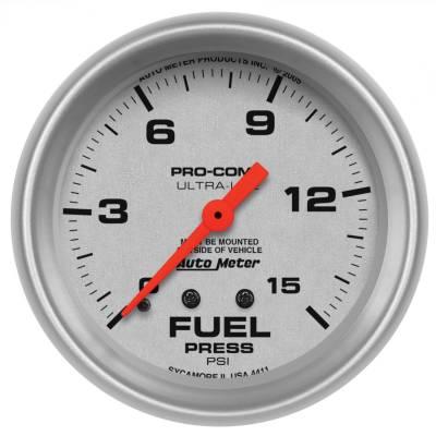 "Instrument Panel - Fuel Pressure Gauge - AutoMeter - GAUGE, FUEL PRESSURE, 2 5/8"", 15PSI, MECHANICAL, ULTRA-LITE - 4411"