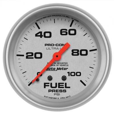 "Instrument Panel - Fuel Pressure Gauge - AutoMeter - GAUGE, FUEL PRESSURE, 2 5/8"", 100PSI, MECHANICAL, ULTRA-LITE - 4412"