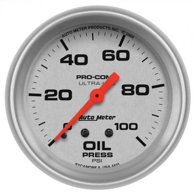 "Instrument Panel - Engine Oil Pressure Gauge - AutoMeter - GAUGE, OIL PRESSURE, 2 5/8"", 100PSI, MECHANICAL, ULTRA-LITE - 4421"