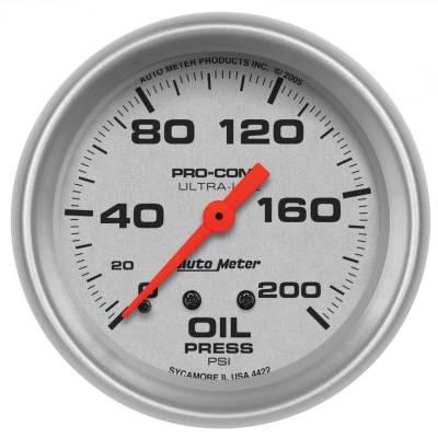 "Instrument Panel - Engine Oil Pressure Gauge - AutoMeter - GAUGE, OIL PRESSURE, 2 5/8"", 200PSI, MECHANICAL, ULTRA-LITE - 4422"