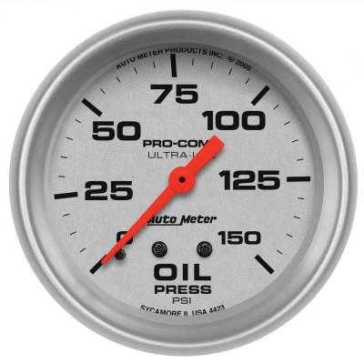 "Instrument Panel - Engine Oil Pressure Gauge - AutoMeter - GAUGE, OIL PRESSURE, 2 5/8"", 150PSI, MECHANICAL, ULTRA-LITE - 4423"