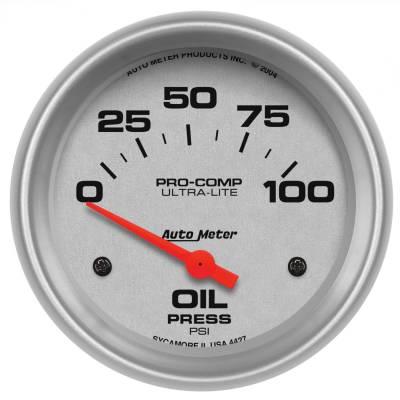 "Instrument Panel - Engine Oil Pressure Gauge - AutoMeter - GAUGE, OIL PRESSURE, 2 5/8"", 100PSI, ELECTRIC, ULTRA-LITE - 4427"