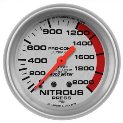 "Nitrous Oxide Injection System - Nitrous Oxide Pressure Gauge - AutoMeter - GAUGE, NITROUS PRESSURE, 2 5/8"", 2000PSI, MECHANICAL, ULTRA-LITE - 4428"