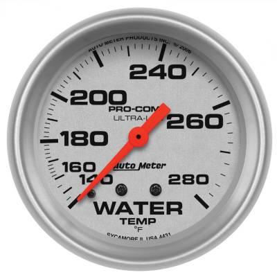 "Instrument Panel - Engine Coolant Temperature Gauge - AutoMeter - GAUGE, WATER TEMP, 2 5/8"", 140-280?F, MECHANICAL, ULTRA-LITE - 4431"