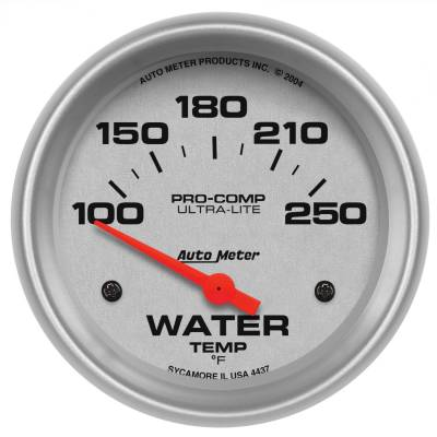 "Instrument Panel - Engine Coolant Temperature Gauge - AutoMeter - GAUGE, WATER TEMP, 2 5/8"", 100-250?F, ELECTRIC, ULTRA-LITE - 4437"