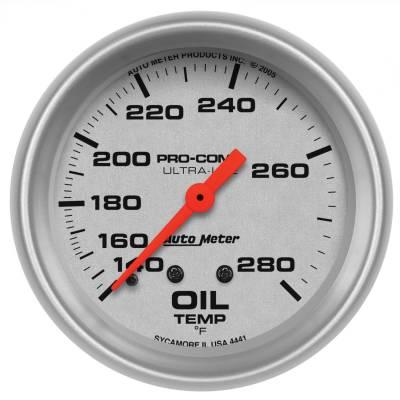 "Instrument Panel - Engine Oil Temperature Gauge - AutoMeter - GAUGE, OIL TEMP, 2 5/8"", 140-280?F, MECHANICAL, ULTRA-LITE - 4441"