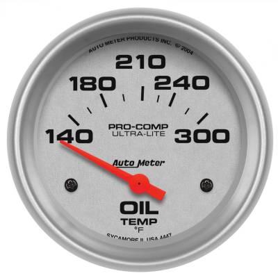 "Instrument Panel - Engine Oil Temperature Gauge - AutoMeter - GAUGE, OIL TEMP, 2 5/8"", 140-300?F, ELECTRIC, ULTRA-LITE - 4447"