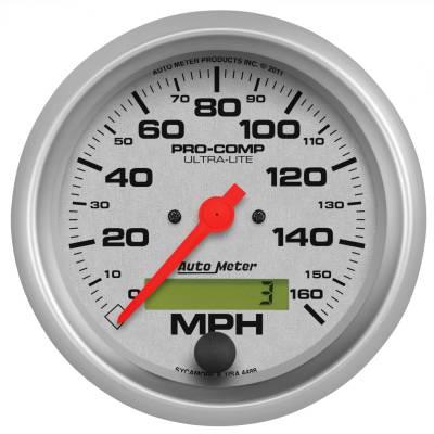 "Instrument Panel - Speedometer Gauge - AutoMeter - GAUGE, SPEEDO, 3 3/8"", 160MPH, ELEC. PROGRAM W/ LCD ODO, ULTRA-LITE - 4488"