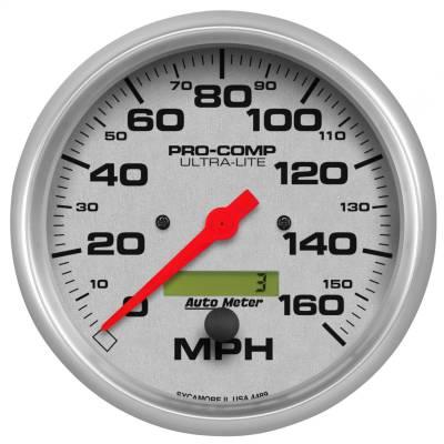 "Instrument Panel - Speedometer Gauge - AutoMeter - GAUGE, SPEEDO, 5"", 160MPH, ELEC. PROGRAM W/ LCD ODO, ULTRA-LITE - 4489"
