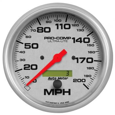 "Instrument Panel - Speedometer Gauge - AutoMeter - GAUGE, SPEEDO, 5"", 200MPH, ELEC. PROGRAM W/ LCD ODO, ULTRA-LITE - 4490"