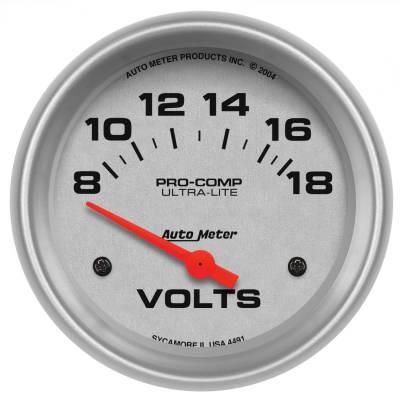 """Instrument Panel - Voltmeter Gauge - AutoMeter - GAUGE, VOLTMETER, 2 5/8"""", 18V, ELECTRIC, ULTRA-LITE - 4491"""