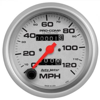 """Instrument Panel - Speedometer Gauge - AutoMeter - GAUGE, SPEEDOMETER, 3 3/8"""", 120MPH, MECHANICAL, ULTRA-LITE - 4492"""