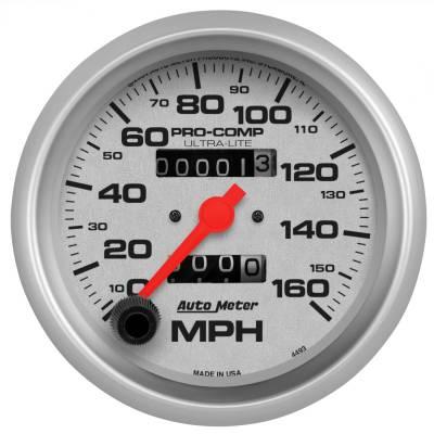 """Instrument Panel - Speedometer Gauge - AutoMeter - GAUGE, SPEEDOMETER, 3 3/8"""", 160MPH, MECHANICAL, ULTRA-LITE - 4493"""