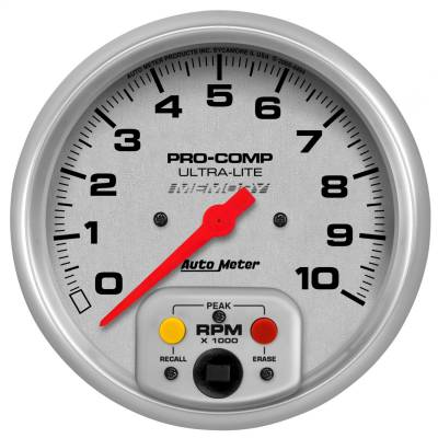 "Instrument Panel - Tachometer Gauge - AutoMeter - GAUGE, TACHOMETER, 5"", 10K RPM, IN-DASH W/PEAK RPM MEMORY, ULTRA-LITE - 4494"