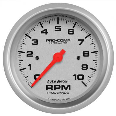 "Instrument Panel - Tachometer Gauge - AutoMeter - GAUGE, TACHOMETER, 3 3/8"", 10K RPM, IN-DASH, ULTRA-LITE - 4497"