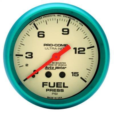 """Instrument Panel - Fuel Pressure Gauge - AutoMeter - GAUGE, FUEL PRESS, 2 5/8"""", 15PSI, MECH., GLOW IN THE DARK, ULTRA-NITE - 4511"""