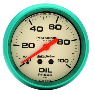 "Instrument Panel - Engine Oil Pressure Gauge - AutoMeter - GAUGE, OIL PRESS, 2 5/8"", 100PSI, MECH., GLOW IN THE DARK, ULTRA-NITE - 4521"