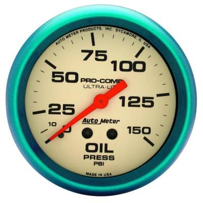 "Instrument Panel - Engine Oil Pressure Gauge - AutoMeter - GAUGE, OIL PRESS, 2 5/8"", 150PSI, MECH., GLOW IN THE DARK, ULTRA-NITE - 4523"
