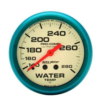 "Instrument Panel - Engine Coolant Temperature Gauge - AutoMeter - GAUGE, WATER TEMP, 2 5/8"", 140-280?F, MECH., GLOW IN THE DARK, ULTRA-NITE - 4531"