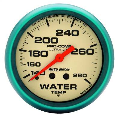 "Instrument Panel - Engine Coolant Temperature Gauge - AutoMeter - GAUGE, WATER TEMP, 2 5/8"", 140-280?F, MECH., 4FT., GLOW IN DARK, ULTRA-NITE - 4535"
