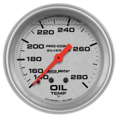 "Instrument Panel - Engine Oil Temperature Gauge - AutoMeter - GAUGE, OIL TEMP, 2 5/8"", 140-280?F, 8FT., LIQUID FILLED MECH, ULTRA-LITE - 4641"