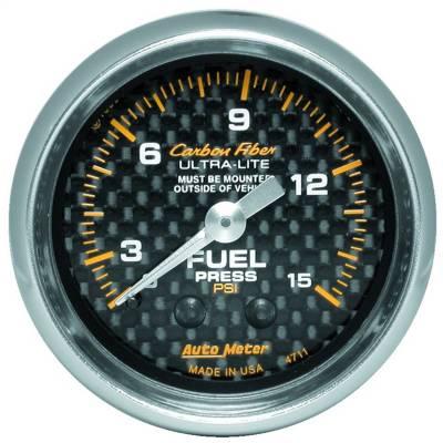"Instrument Panel - Fuel Pressure Gauge - AutoMeter - GAUGE, FUEL PRESSURE, 2 1/16"" 0-15PSI, MECHANICAL, CARBON FIBER - 4711"