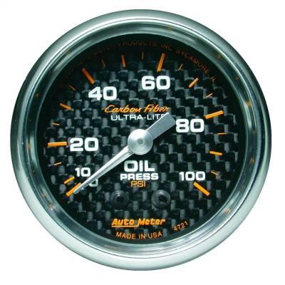 """Instrument Panel - Engine Oil Pressure Gauge - AutoMeter - GAUGE, OIL PRESSURE, 2 1/16"""", 100PSI, MECHANICAL, CARBON FIBER - 4721"""