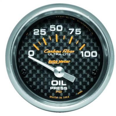 """Instrument Panel - Engine Oil Pressure Gauge - AutoMeter - GAUGE, OIL PRESSURE, 2 1/16"""", 100PSI, ELECTRIC, CARBON FIBER - 4727"""