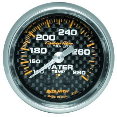 "Instrument Panel - Engine Coolant Temperature Gauge - AutoMeter - GAUGE, WATER TEMP, 2 1/16"", 140-280?F, MECHANICAL, CARBON FIBER - 4731"