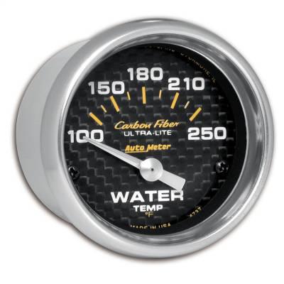 "Instrument Panel - Engine Coolant Temperature Gauge - AutoMeter - GAUGE, WATER TEMP, 2 1/16"", 100-250?F, ELECTRIC, CARBON FIBER - 4737"