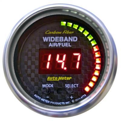 "Instrument Panel - Air / Fuel Ratio Gauge - AutoMeter - GAUGE, AIR/FUEL RATIO-PRO, 2 1/16"", 10:1-20:1, DIGITAL W/ PK & WRN, CARBON FIBER - 4778"