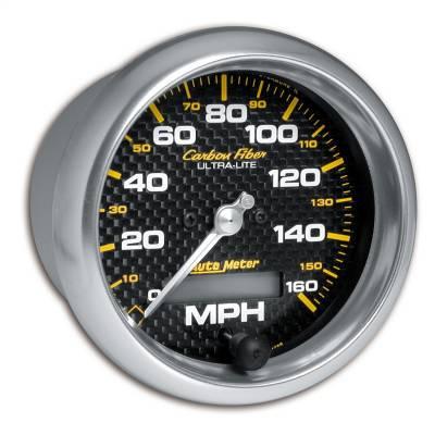 """Instrument Panel - Speedometer Gauge - AutoMeter - GAUGE, SPEEDOMETER, 3 3/8"""", 160MPH, ELEC. PROGRAMMABLE, CARBON FIBER - 4789"""