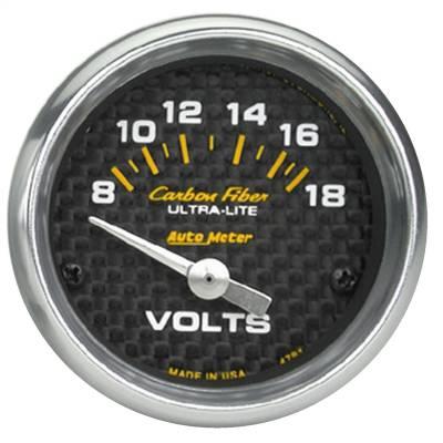 """Instrument Panel - Voltmeter Gauge - AutoMeter - GAUGE, VOLTMETER, 2 1/16"""", 18V, ELECTRIC, CARBON FIBER - 4791"""