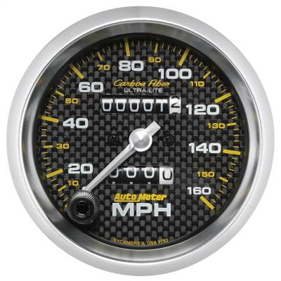 """Instrument Panel - Speedometer Gauge - AutoMeter - GAUGE, SPEEDOMETER, 3 3/8"""", 160MPH, MECHANICAL, CARBON FIBER - 4793"""