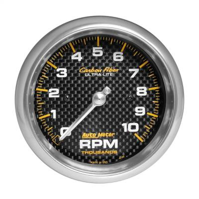 "Instrument Panel - Tachometer Gauge - AutoMeter - GAUGE, TACHOMETER, 3 3/8"", 10K RPM, IN-DASH, CARBON FIBER - 4798"