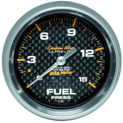 "Instrument Panel - Fuel Pressure Gauge - AutoMeter - GAUGE, FUEL PRESSURE, 2 5/8"", 15PSI, MECHANICAL, CARBON FIBER - 4811"