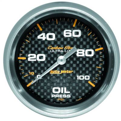 """Instrument Panel - Engine Oil Pressure Gauge - AutoMeter - GAUGE, OIL PRESSURE, 2 5/8"""", 100PSI, MECHANICAL, CARBON FIBER - 4821"""