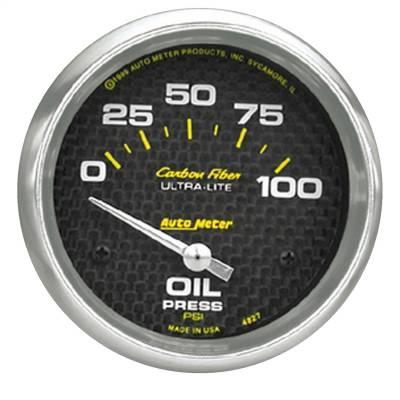 """Instrument Panel - Engine Oil Pressure Gauge - AutoMeter - GAUGE, OIL PRESSURE, 2 5/8"""", 100PSI, ELECTRIC, CARBON FIBER - 4827"""