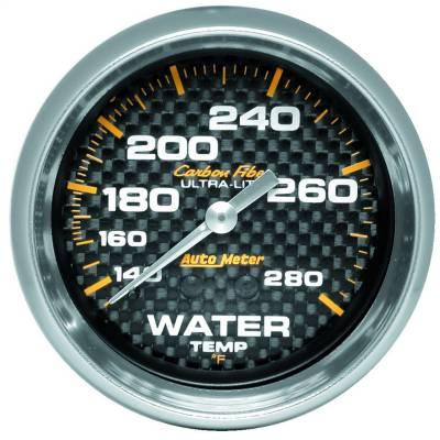 "Instrument Panel - Engine Coolant Temperature Gauge - AutoMeter - GAUGE, WATER TEMP, 2 5/8"", 140-280?F, MECHANICAL, CARBON FIBER - 4831"
