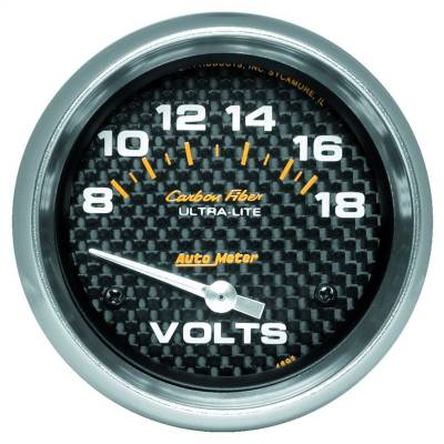 """Instrument Panel - Voltmeter Gauge - AutoMeter - GAUGE, VOLTMETER, 2 5/8"""", 18V, ELECTRIC, CARBON FIBER - 4891"""