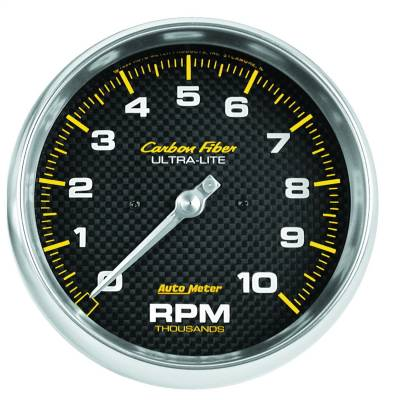 "Instrument Panel - Tachometer Gauge - AutoMeter - GAUGE, TACHOMETER, 5"", 10K RPM, IN-DASH, CARBON FIBER - 4898"