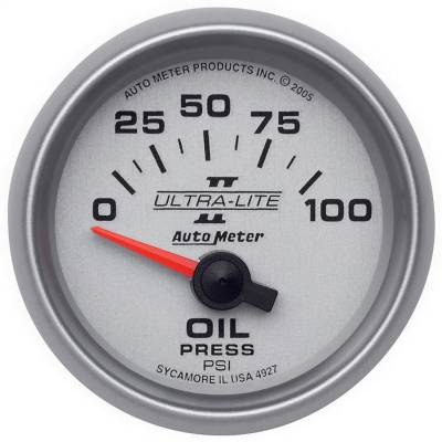 "Instrument Panel - Engine Oil Pressure Gauge - AutoMeter - GAUGE, OIL PRESSURE, 2 1/16"", 100PSI, ELECTRIC, ULTRA-LITE II - 4927"